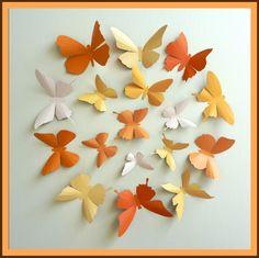 3D Wall Butterflies - 15 Pumpkin, Light Mustard, Light Peach, Orange Butterfly Silhouettes, Home Decor. $25.00, via Etsy.