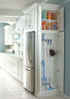 Add a small cabinet to extra space in the kitchen for cleaning supply storage.