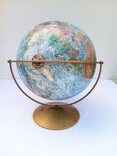 Vintage Globe Replogle Land and Sea Globe 1970s World Globe