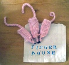 FREE PATTERN: sugary pink finger mice | Claire Garland: knitting patterns, dolls and inspiration