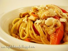 1 pound linguine  1 red pepper, cut into thin strips  4 Tablespoons balsamic vinegar  5 garlic cloves, finely minced  ½ teaspoons salt  ¼ teaspoons ground black pepper  1/2 cup extra virgin olive oil  1 1/2 tablespoons dried basil (can substitute 1 cup fresh basil)  2 cups cooked, shredded chicken  1 1/2 cups shredded or cubed mozzarella cheese  ½ cup feta cheese