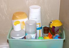Travel Shower Caddy: We travel a lot, so we use wipe boxes for toiletries. All the wet stuff: soap, shampoo, loofah, etc. They dont fall over, and I can bring the whole box in the bath/shower because I drilled holes in the bottom so the water drains out before I repack it with my luggage. — Marci O.