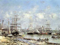 Eugene Boudin Bordeaux, le port 1876 x 100 cm) Bordeaux, Eugene Boudin, Honfleur, Sailing Ships, Painting, Impressionism, Artist, Kunst, Bordeaux Wine