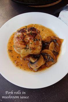 Pork rolls in mushroom sauce ready in 30 minutes. Pork Mushroom, Mushroom Sauce, Chicken Mozzarella Pasta, Pork Roll, Shrimp Recipes Easy, Easy Recipes, Salad Recipes, Healthy Recipes, Shrimp Tacos