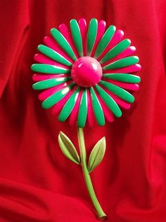 Enamel Flower Pink and Green Brooch