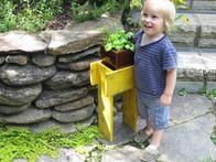 Let your child paint his or her plant stand in a favorite color to give a sense of ownership and bring a dose of color to the landscape.  .......I would make bottom wider, looks a little top heavy!