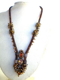 Rivoli Beadwoven Necklace Unique Beaded Beadwork Beadweaving Jewelry Eye of a Tiger by hadas.spring_colors, via Flickr