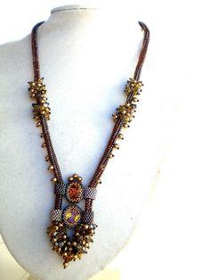 Rivoli Beadwoven Necklace Unique Beaded Beadwork Beadweaving Jewelry Eye of a Tiger by hadas.spring_colors, via Flickr