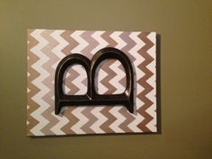 """Chevron + Initial = awesome Canvas painted with white, taupe, and gold chevron Hobby Lobby """"B"""" gorilla glued to canvas"""