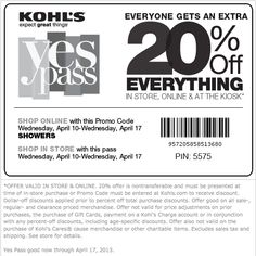 april coupons kohls