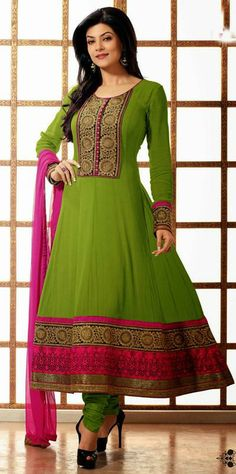 USD 98.81 Sushmita Sen Green Bollywood Embroidered Georgette Anarkali Suit28113