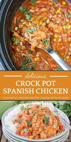 Need more quick and easy dinner ideas? This Crock Pot Spanish Chicken is perfect for busy nights! Loaded with flavorful spices and veggies, this crock pot meal can be paired with mashed potatoes, fresh veggies, or tortillas. You can't go wrong with this Crocktober recipe! Best Crockpot Recipes, Slow Cooker Recipes, Delicious Recipes, Yummy Food, Grilled Chicken Recipes, Veggie Recipes, Spanish Chicken, Thanksgiving Dinner Recipes, Slow Cooked Meals