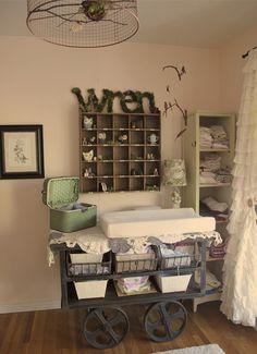 "shabby chic bird themed nursery and ""Wren"" baby. love the name Wren for a baby girl!!"
