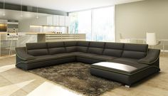 VGEV5076-Divani Casa 5076 Black Bonded Leather Sectional Sofa Finishing: Black Bonded Leather Sectional Sofa Sale for $2289