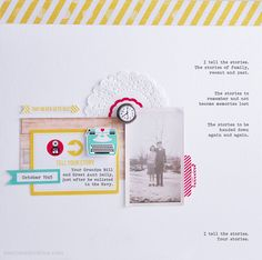 Story Teller - Scrapbook.com - Lots of white space, journaling typed on the background, lovely doily, Chic tags products and vintage photo - favorited at Scrapbook.com.