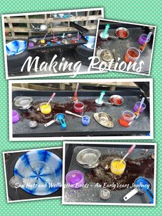 Water play meets potion making using coloured water and lots of glitter.
