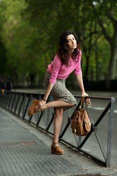 Pink sweater, leopard skirt, camel platforms
