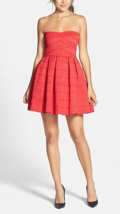 Red strapless dress for homecoming or a summer wedding. Gorgeous!