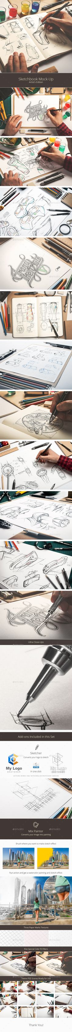 Buy Sketchbook Mock-Up / Artists Edition by on GraphicRiver. Create professional sketch mock-ups with ease. Display your artwork, sketches, logo designs or branding projects in a. Mockup Photoshop, Photoshop Photos, Photoshop Actions, Free Mockup Templates, Flyer Template, Scene Creator, Header Image, Paper Texture, Logo Design