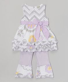 Look at this #zulilyfind! Gray Zigzag & Lavender Floral Top & Pants - Toddler & Girls by AnnLoren #zulilyfinds