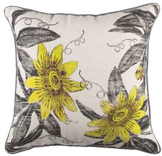 Pauola cushion by Kas. #yellow #floral