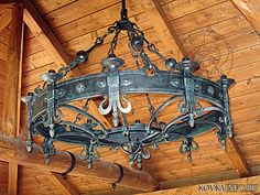 Home & Decor Iron Furniture, Steel Furniture, Rustic Lamps, Rustic Lighting, Copper Work, Medieval Furniture, Wrought Iron Chandeliers, Pipe Lighting, Wagon Wheel Chandelier