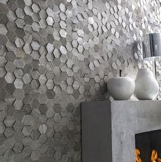 Plaquette de parement pierre naturelle crème Hexagone cottage #ideedeco #mur #homedecor