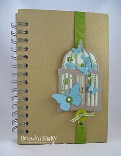 I used SU's ribbons, button, Itty Bitty Punch, Pearls, DSP and the Beautiful Wings Embosslits Die. The Bird Cage Die is from Marianne Creatables.  Now, all I need to do is cover that journal!