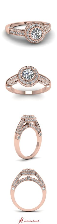 Milgrain Opulence Ring ||  Round Cut Diamond Milgrain Rings With White Diamonds In 14k Rose Gold