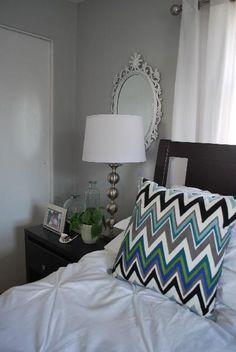 bedrooms - Benjamin Moore - Stonington Gray - Target Zigzag Chevron Pillow Pintuck Duvet & Shams gray mirrors white bedding zigzag pillows silver lamp gray walls