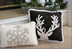 The Shabby Nest. Love these xmas pillows