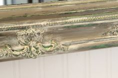 Layered Chalk Paint™ mirror... beautiful. First, a layer of Graphite, then Antibes, then French Linen. Then clear and dark wax. Sanded to reveal the gorgeous layers.