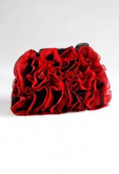 Handbags - Full Satin Ruffle Handbag with Frayed Edges from Camille La Vie and Group USA