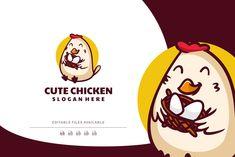 Chicken Mascot Cartoon Logo by Artnivora.Std on @creativemarket