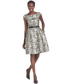 Eliza J Dress, Cap-Sleeve Belted A-Line - Womens Dresses - Macy's