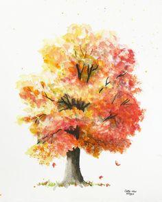 Arbre automne peinture aquarelle imprimer par par CathyHillegas