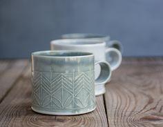 ceramic mug, Dark Blue Porcelain Mug, Porcelain Coffee Cup, Modern Tea Cup in geometric pattern, unique coffee mug, mothers day gift by FreeFolding on Etsy https://www.etsy.com/listing/197906440/ceramic-mug-dark-blue-porcelain-mug