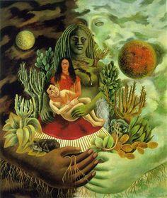 L'amoroso abbraccio dell'universo, la terra, io, Diego e il signor Xólot,1949 Nel dipinto Xolotl ha anche il compito di vegliare sul rapporto amoroso di Frida e Diego. In quest'opera Frida ha riunito tutti gli elementi della mitologia messicana: vita, morte, notte e giorno, sole, luna, uomo, donna e, come si è detto, le dee creatrici della Terra e della Vita.