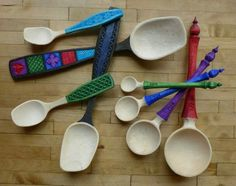 Wonderfully decorated hamdmade wooden spoons by the ever talented Ulrika Eckardt