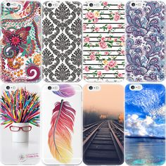 For iPhone 6 6S Plus 7 5 5S SE 4 4S New Flower Printed Pattern Phone Case For Apple Palace Landscape TPU Back Cover Cases Capa