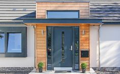 This particular single entry doors is undeniably a remarkable design principle. Front Door Porch, Porch Doors, Front Porch Design, Entry Doors, Front Doors, Modern Front Porches, Modern Front Door, Modern Bungalow House, Bungalow Exterior