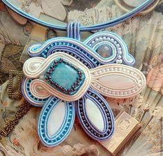 """Кулон c аквамаринами """"Голубая даль"""" - голубой,подарок девушке,подарок женщине"""