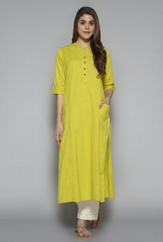 Utsa by Westside Lime Green Solid Kurta Pakistani Dresses, Indian Dresses, Abaya Fashion, New Fashion, Saree Kuchu Designs, Kurti Patterns, Indian Designer Wear, Kurtis, Short Sleeve Dresses
