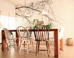 Time for a new wall mural? A top-quality, affordable wall mural – fast and free UK delivery and high customer satisfaction. Scandinavian Wallpaper, Dining Room Inspiration, Photo Wallpaper, Decoration, Wall Murals, Sweet Home, Table Settings, Dining Table, Wood