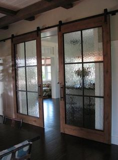Do you find yourself obsessing over sliding barn door designs and trying to figure out how to incorporate them into your own home? It seems most renovated spaces these days include a sliding barn-style door in one way or another. Glass Barn Doors, Sliding Barn Doors, Barn Door With Window, Wood Doors, Window Glass, Interior Glass Doors, Frosted Glass Barn Door, Glass Pocket Doors, Glass Closet Doors