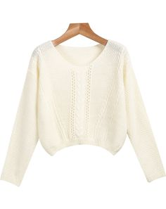 White Round Neck Long Sleeve Crop Knit Sweater 18.33