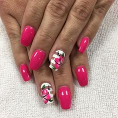 These nail designs will be your indispensable. Stamp this summer with the latest trend nail designs. these great nail designs will perfect you. Cool Nail Designs, Acrylic Nail Designs, Nail Designs Hot Pink, Diy Nails, Cute Nails, Pink Acrylic Nails, Pink Nail, Acrylic Art, Floral Nail Art