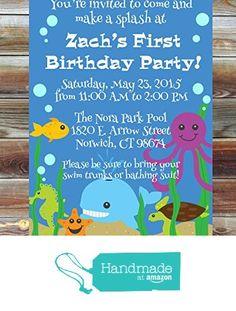 Printable Custom First Birthday Ocean Invitation for Boy - 1st Birthday Pool Party Invite - Under the Sea Theme Birthday Party Invitation from ViaBarrett http://smile.amazon.com/dp/B016CFLJ9C/ref=hnd_sw_r_pi_dp_6hjaxb0D8WTYY #handmadeatamazon
