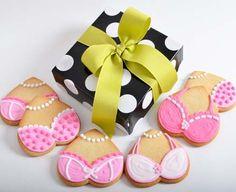 The Pink Ladies - Cookies for Breast Cancer Awareness! (pink desserts for breast cancer) Breast Cancer Cake, Breast Cancer Crafts, Breast Cancer Fundraiser, Breast Cancer Awareness, Lingerie Cookies, Bikini Cookies, Pink Bake Sale Ideas, Flower Cookies, Pink Cookies