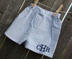 monogrammed baby boy seersucker shorts: yes, i will get these one day!
